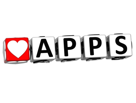 3D Love Apps Button Click Here Block Text over white background photo
