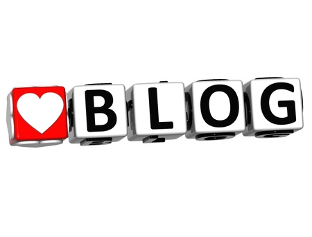 3D Love Blog Button Click Here Block Text over white background Stock Photo - 16941220
