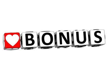 3D Love Bonus Button Click Here Block Text over white background photo