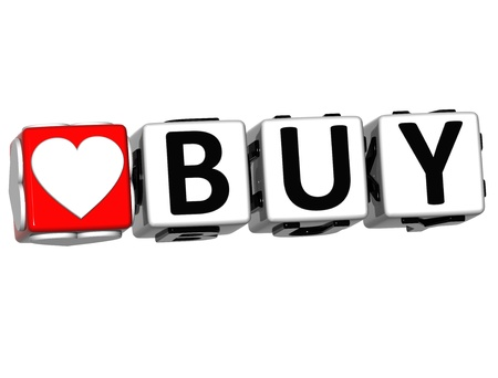 3D Love Buy Button Click Here Block Text over white background photo