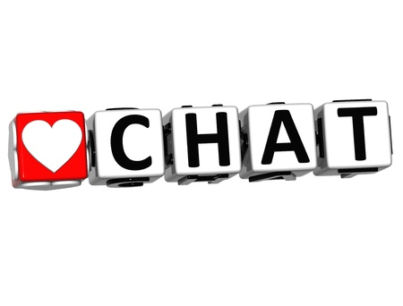 3D Love Chat Button Click Here Block Text over white background Stock Photo - 16941215