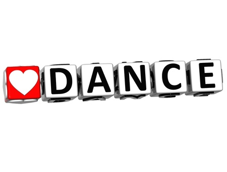 3D Love Dance Button Click Here Block Text over white background photo