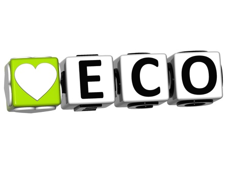 3D Love Eco Button Click Here Block Text over white background photo