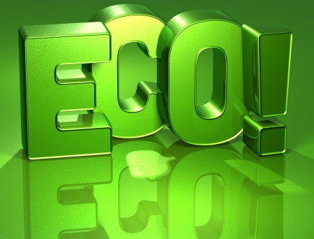 3D Word Eco on green background  photo