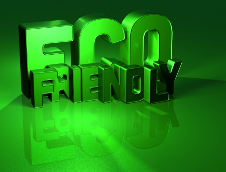 3D Word Eco Friendly on green background  photo