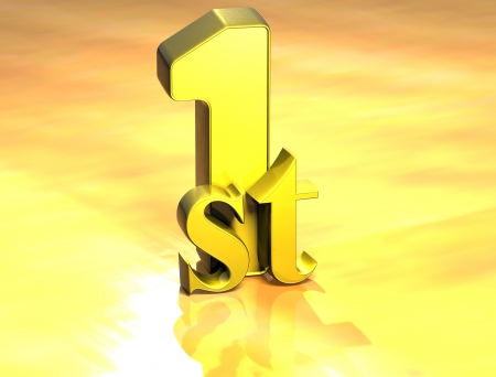 3D Word First on gold background  photo