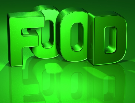 3D Word Food on green background  photo