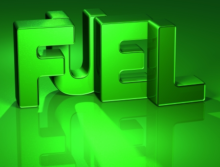 3D Word Fuel on green background  photo