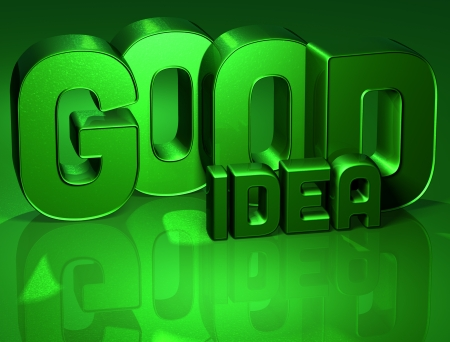 3D Word Good Idea on green background  Stock Photo - 17002426