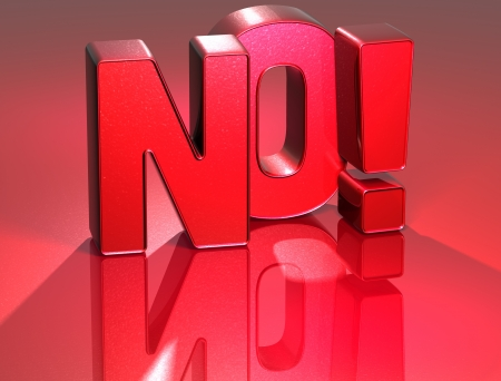 3D Word No on red background  photo