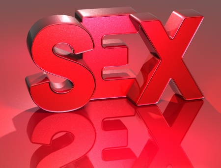 3D Word Sex on red background  Stock Photo - 17002419