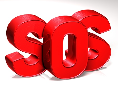 3D Word SOS on white background