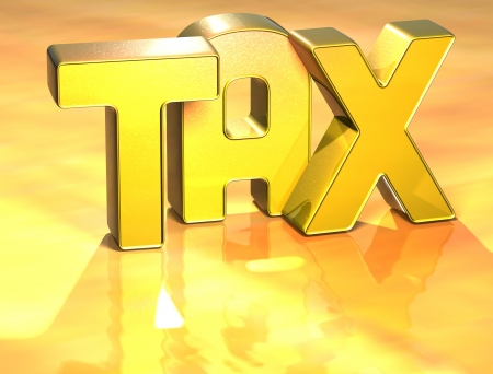 wariety: 3D Word TAX on gold background  Stock Photo