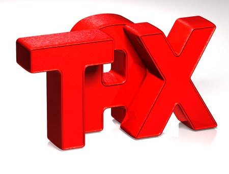 3D Word TAX on white background  Stock Photo