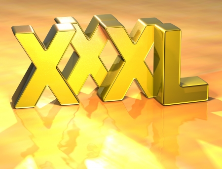 xxxl: 3D Word XXXL on gold background