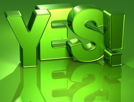 3D Word Yes on green background Stock Photo - 17002445