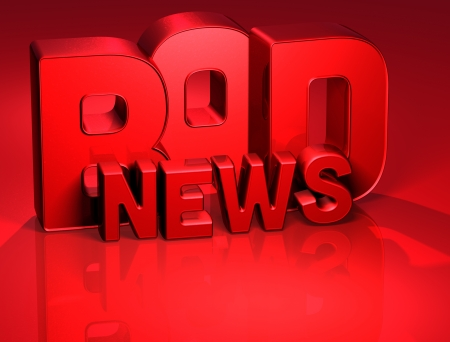 bad news: 3D Word Bad News on red background  Stock Photo