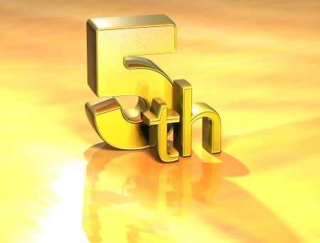 3D Word Fifth on gold background  photo