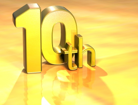 3D Word Tenth on gold background  photo