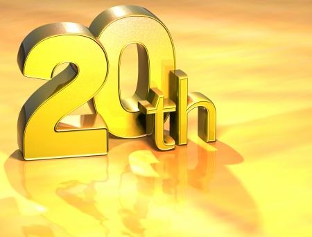 twentieth: 3D Word Twentieth on gold background  Stock Photo