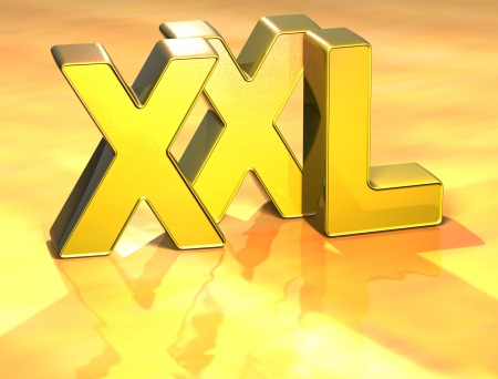 3D Word XXL on gold background Stock Photo - 17002367