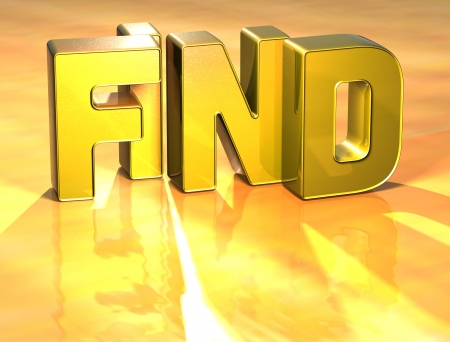 webmater: 3D Word Find on gold background  Stock Photo