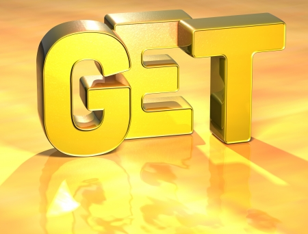 wariety: 3D Word Get on gold background  Stock Photo