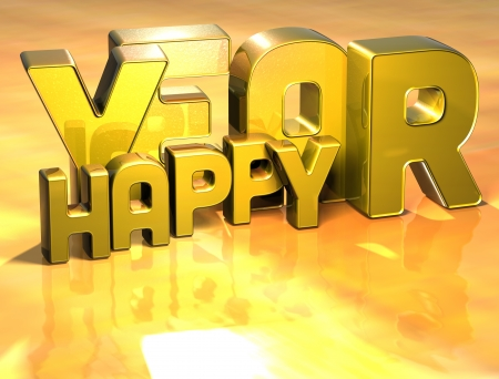 wariety: 3D Word Happy Year on gold background