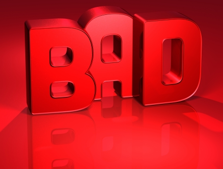 3D Word Bad on red background  Stock Photo - 17002348