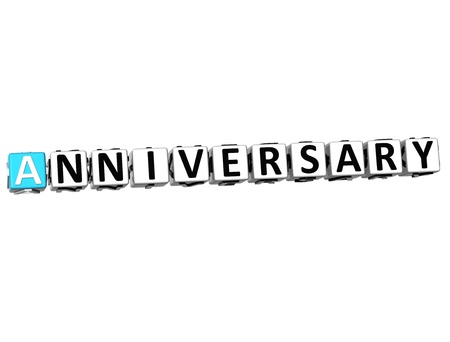 3D Anniversary Button Click Here Block Text over white background   photo