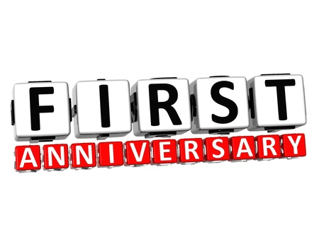 3D First Anniversary Button Click Here Block Text over white background   photo