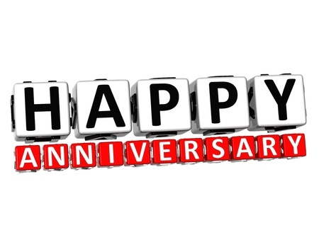 3D Happy Anniversary Button Click Here Block Text over white background   photo