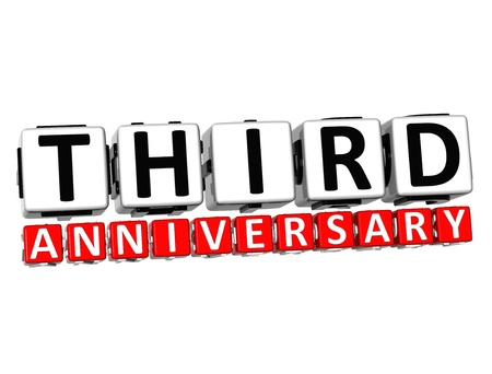 3D Third Anniversary Button Click Here Block Text over white background   photo