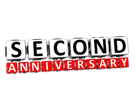 3D Second Anniversary Button Click Here Block Text over white background   photo