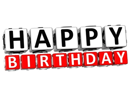 3D Happy Birthday Button Click Here Block Text over white background   photo