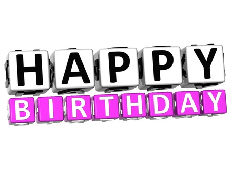 wariety: 3D Happy Birthday Button Click Here Block Text over white background   Stock Photo