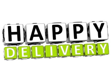 3D Happy Delivery Button Click Here Block Text over white background   Stock Photo - 17031998