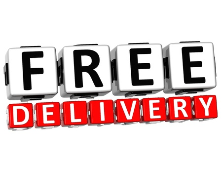 free time: 3D Free Delivery Button Click Here Block Text over white background