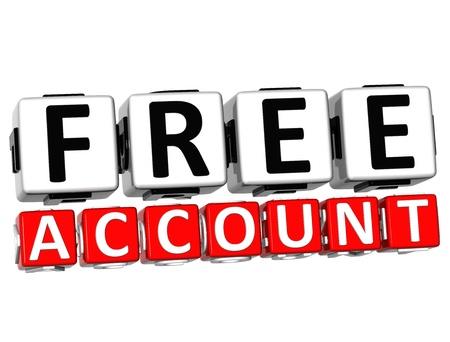 3D Free Account Button Click Here Block Text over white background Stock Photo - 17032044