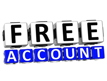 3D Free Account Button Click Here Block Text over white background Stock Photo - 17032045