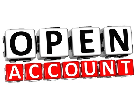 3D Open Account Button Click Here Block Text over white background   photo