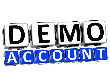 3D Demo Account Button Click Here Block Text over white background   photo