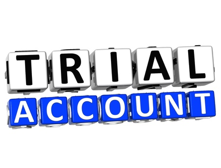 3D Trial Account Button Click Here Block Text over white background Stock Photo - 17032004
