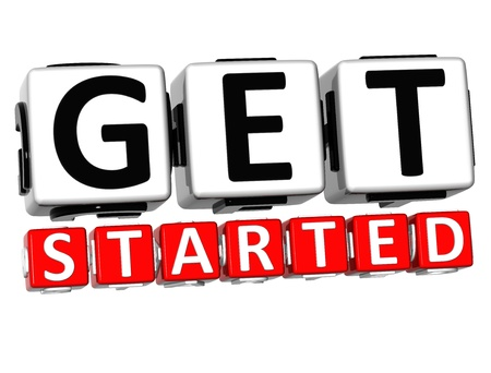 3D Get Started Button Click Here Block Text over white background   photo
