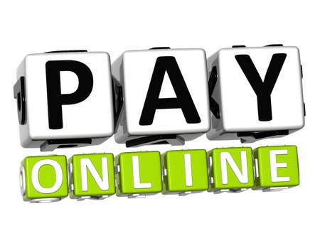 shop assistant: 3D Pay Online Button Click Here Block Text over white background