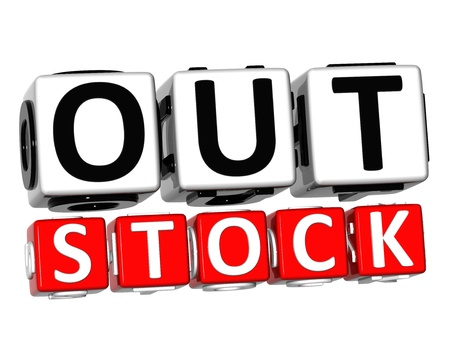 3D Out Stock Button Click Here Block Text over white background   Stock Photo - 17032069