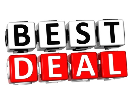 3D Best Deal Button Click Here Block Text over white background   Stock Photo - 17032066