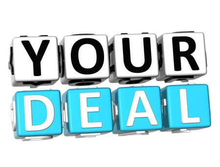 3D Your Deal Button Click Here Block Text over white background   Stock Photo - 17032067