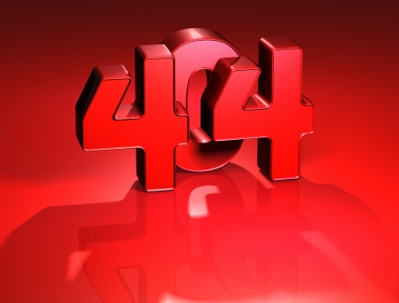 3D 404 Error on red background Stock Photo - 17047896