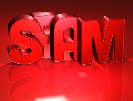 spammer: 3D Word Spam on red background